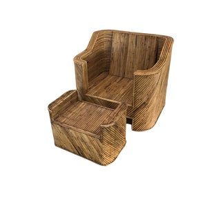 1970s Split Reed Bamboo Club Chair With Ottoman For Sale