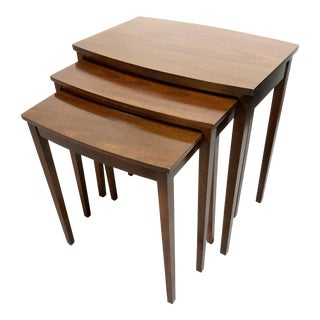 Mid Century Modern Mahogany Nesting Tables by Mersman For Sale