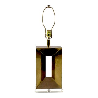 Geometric Brass Table Lamp on Lucite Base For Sale