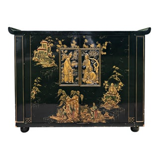 Vintage Asian Console Black and Gold Lacquered Cabinet
