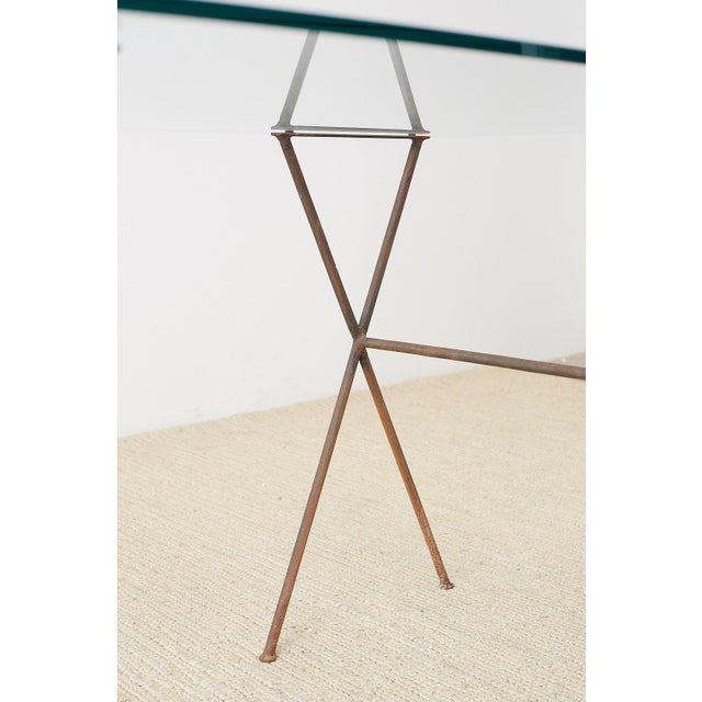 Midcentury Glass Table With Iron X Form Sawhorse Legs For Sale - Image 11 of 13