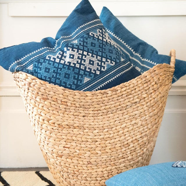 Blue & White Indigo Pillows - a Pair - Image 4 of 4