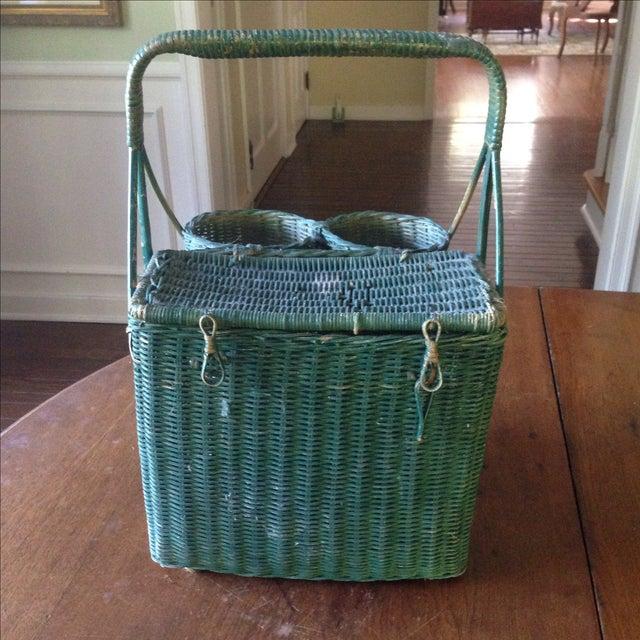Vintage Green Wicker Picnic Basket - Image 4 of 11