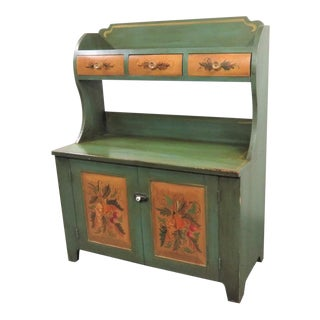 Primitive Paint Decorated Style Bucket Bench For Sale