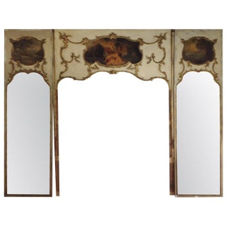 Very Tall French Trumeau Three Piece Wall Mirror Panel With Sconces For Sale