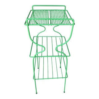 Mid-Century Modern Green Book Shelf Plant Stand For Sale
