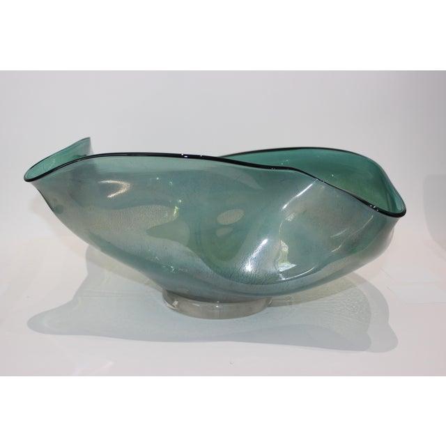 Metal Artisan Glass Biomorphic Form Bowl Silver Flecks For Sale - Image 7 of 13