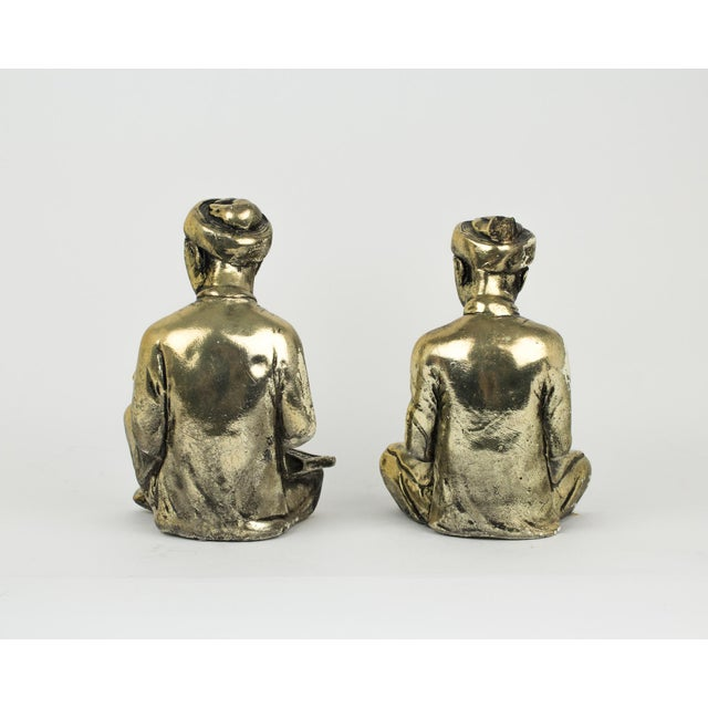 Gold Praying Monks Ceramic Statues - a Pair For Sale - Image 4 of 10