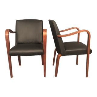 Mid-Century Chairs in Black Leather by Thonet Company - A Pair For Sale