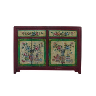 Chinese Floral Graphic Sideboard For Sale