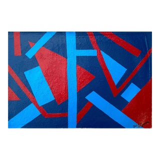 Modern Abstract Geometric Framed Painting by Suga Lane For Sale