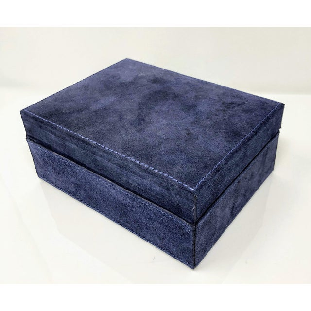 Ralph Lauren Inspired Navy Blue Suede Leather Box - Medium For Sale In Providence - Image 6 of 11