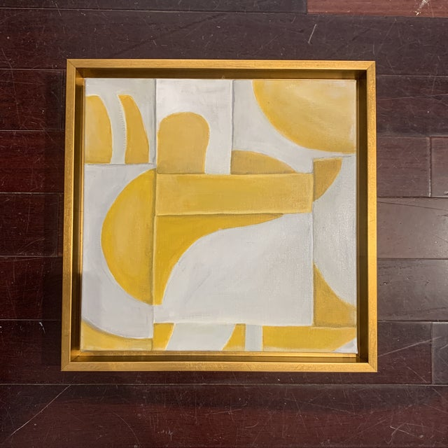 Custom Modern Abstract Yellow and White Painting from Houston Artist For Sale - Image 9 of 9