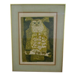 1970s Mid Century Framed Owl Print by David Weidman