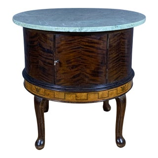 1930s Round Smoking Table With Intarsia Marble Top For Sale