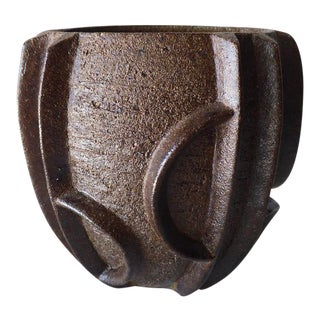 Short Bronze Glazed Ceramic Vessel by Contemporary American Artist Titia Estes For Sale