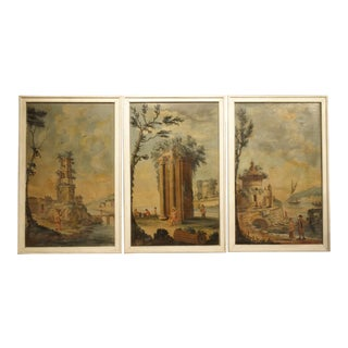 Set of Three 18th Century Italian Landscape Paintings, Oil on Canvas For Sale