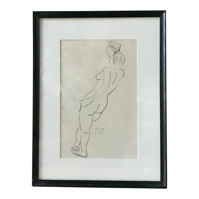 Vintage Nude Drawing, Signed For Sale