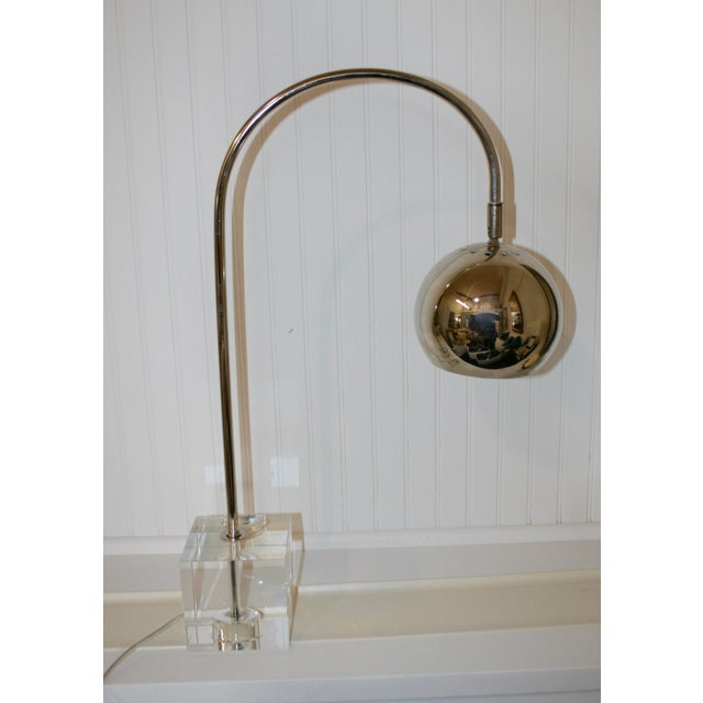Stunning Mid-Century style chrome globe lamp with crystal base. Shipping not included.