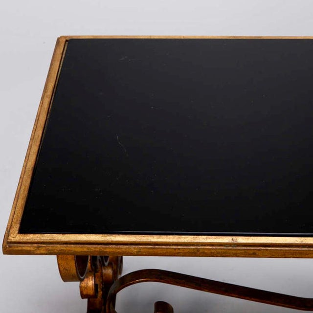 Italian Gilt Iron & Black Glass Cocktail or Coffee Table For Sale - Image 4 of 8