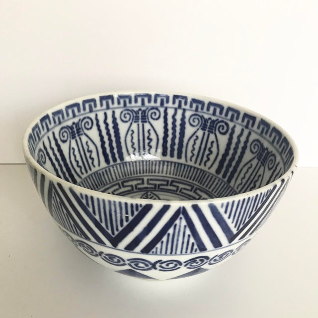 Boho Chic Vintage Blue and White Patterned Ceramic Bowl For Sale - Image 3 of 9
