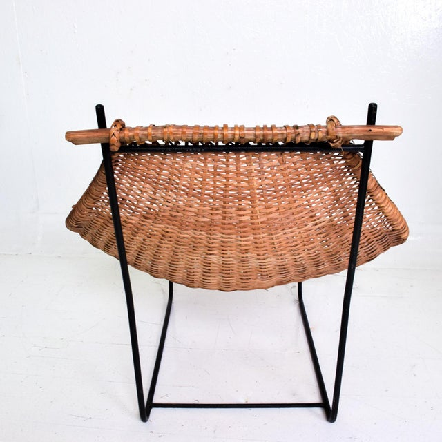 Black John Risley Wicker & Iron Chair, Mid Century Modern For Sale - Image 8 of 11