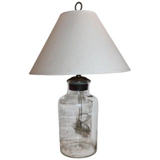 19th Century Glass Jar Lamp Hand Blown W/ Linen Shade For Sale