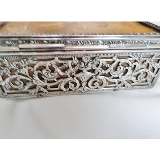 Antique Baroque Sterling Silver Music Box Trinket Box For Sale - Image 4 of 11
