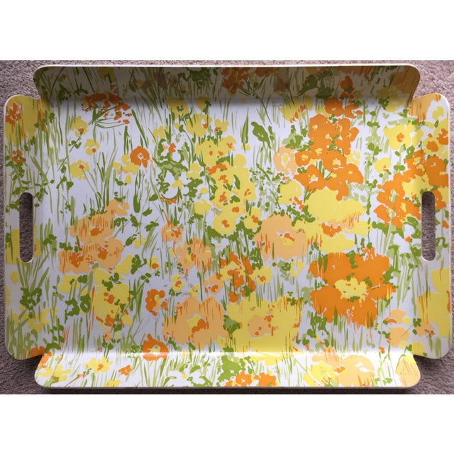 "Vintage D. Porthault 22""Yellow Floral Tray - Image 2 of 4"