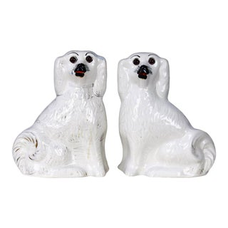 English Staffordshire Glazed Ceramic Dogs - a Pair For Sale