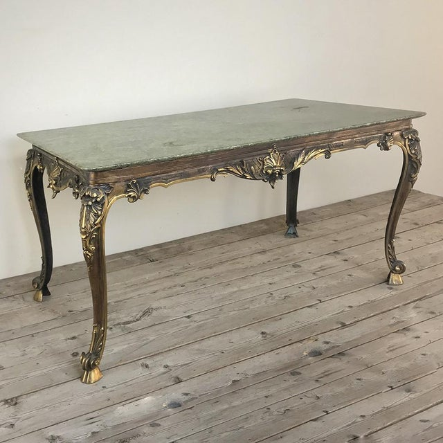 Mid-Century Italian Louis XIV Brass & Marble Coffee Table was made of the highest quality, with beautifully cast, heavy...