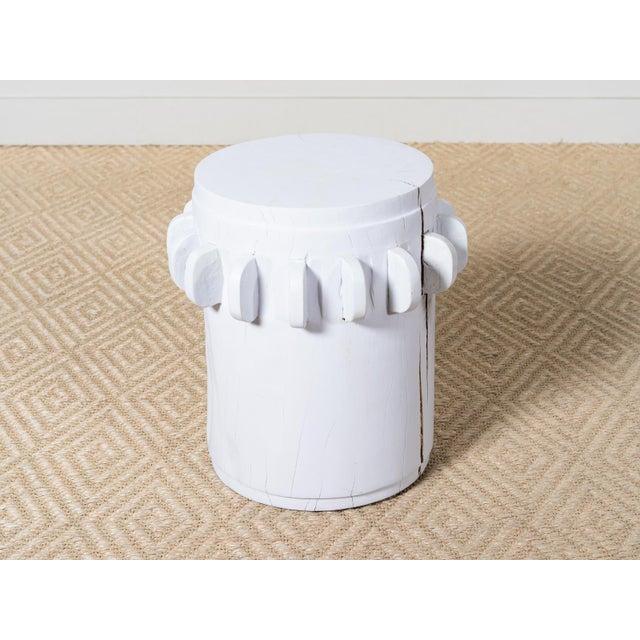 Teak stool Matte white paint finish Cracks and splitting shown in images