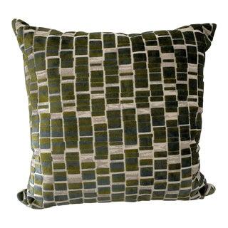 Raised Velvet Blue & Green Pillow For Sale
