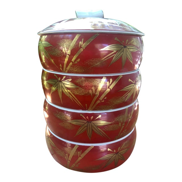 Chinese Gilt Porcelain Bamboo Jubako Wedding Jewelry Stacking Box For Sale