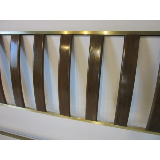 Metal Harvey Probber Queen Sized Brass / Mahogany Headboard For Sale - Image 7 of 9