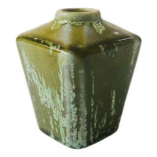 Vintage Green Square Crystalline Pottery Bud Vase For Sale