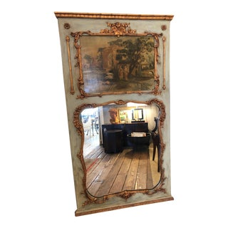 19th Century Painted French Trumeau Mirror For Sale