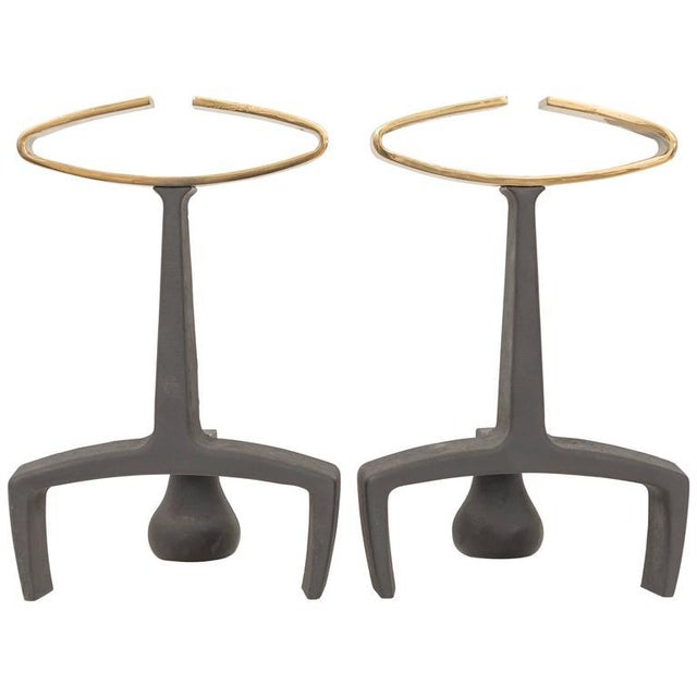 Gold Donald Deskey Cast Iron Andirons - a Pair For Sale - Image 8 of 8