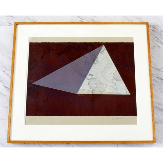 """1980s Abstract Framed Lithograph 5/50 """"Four Corners Project - World View"""" Print by David Barr For Sale - Image 10 of 10"""