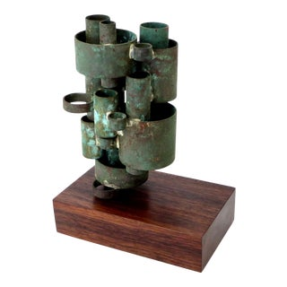 Abstract Copper Tubular Column Sculpture Set on a Walnut Base with Patina For Sale