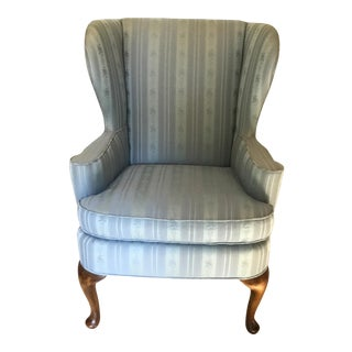 1970s Traditional Baker Furniture Company Baby Blue Wing Back Chair For Sale