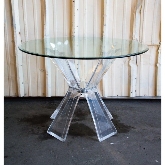 Glass Mid-Century Modern Lucite and Glass Table For Sale - Image 7 of 7