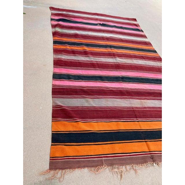 Moroccan Vintage Flat-Weave Stripe Kilim Rug For Sale - Image 11 of 13