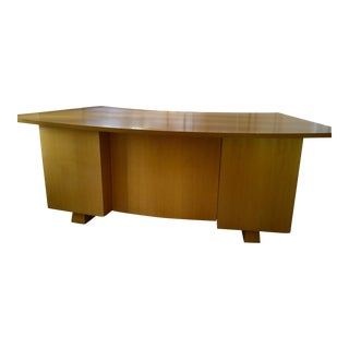 1940's Vintage French Curved Desk of Ash For Sale