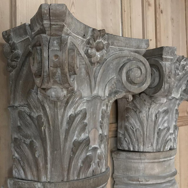 Pair French Architectural Corinthian Weathered Oak Hand Carved Columns, Ca. 1890s For Sale - Image 11 of 13