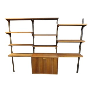 Vintage Hanging Wall Unit Mid Century Bookcase W 15 Shelves & Storage Cabinet For Sale