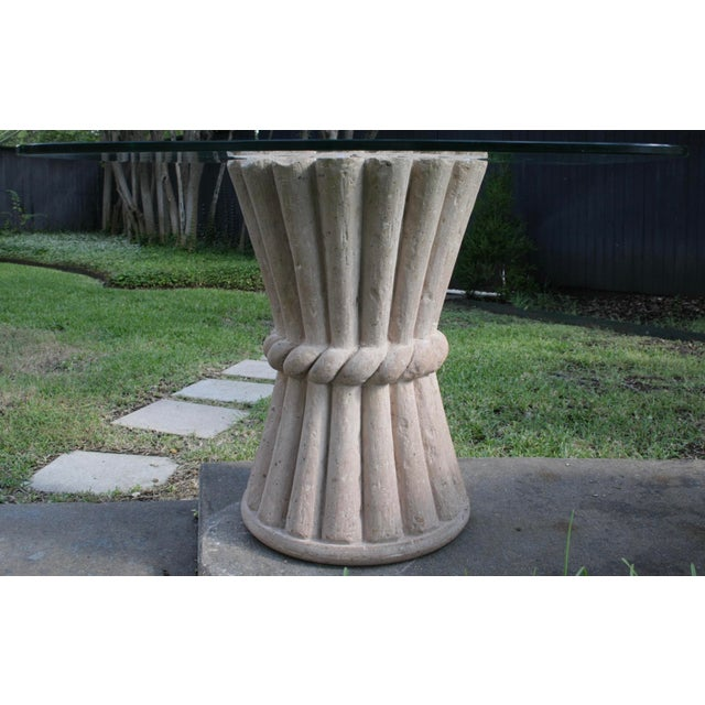 Carved Pink Cantera Stone Dining Table, Hall Table or Patio Table For Sale - Image 11 of 11