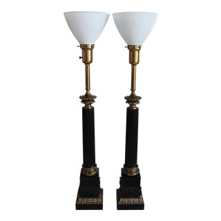 Stiffel Neoclassical Columnar Table Lamps- A Pair For Sale