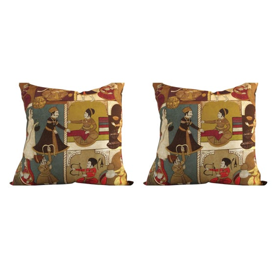 "Pierre Frey ""Ginger "" Pillow Covers in Original Persian Design Cotton - a Pair - Image 1 of 4"