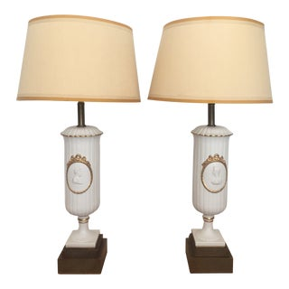 Mid-Century Neoclassical Lamps With Anthropologie Shades - a Pair